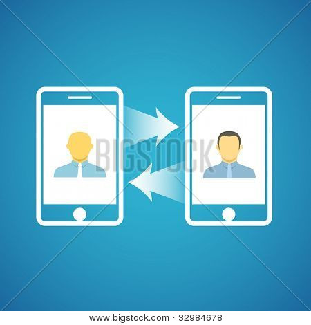 Two businessmen communicatitng with the mobile phones