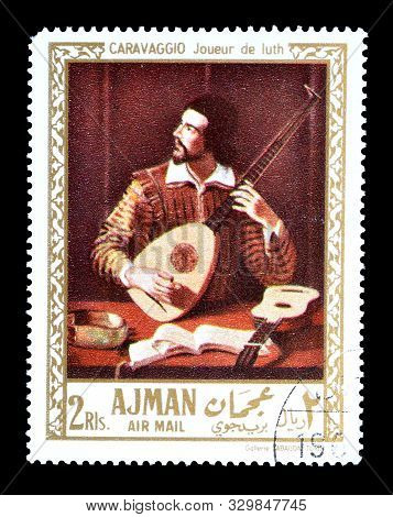 Cancelled Postage Stamp Printed By Ajman, That Shows Painting Portrait Of Man With The Lute By Carav
