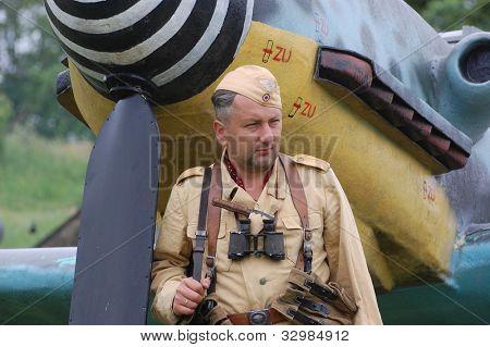KIEV, UKRAINE -MAY 13: Member of Red Star history club wears historical German Luftwaffe uniform during historical reenactment of WWII, May 13, 2012 in Kiev, Ukraine