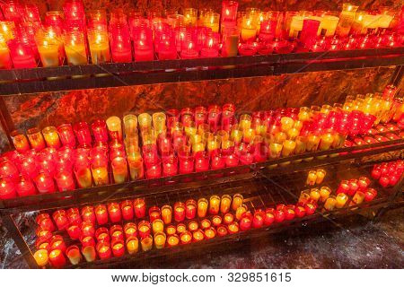 Lots Of Candles In Covadonga, Asturias, Spain