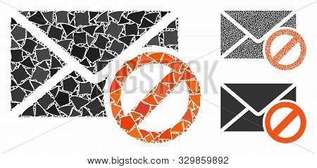 Stop Spam Mosaic Of Rugged Pieces In Different Sizes And Shades, Based On Stop Spam Icon. Vector Rug