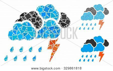 Storm Composition Of Uneven Elements In Various Sizes And Color Tones, Based On Storm Icon. Vector U