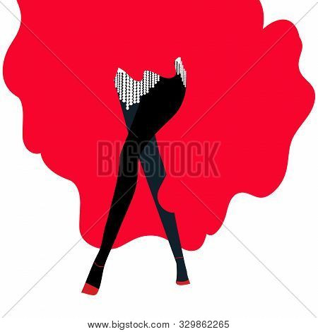 Illustration Of A Burlesque Dancer With Red Dress