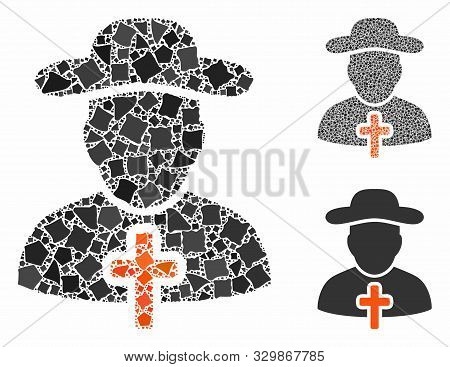 Cleric Composition Of Ragged Elements In Various Sizes And Shades, Based On Cleric Icon. Vector Hump