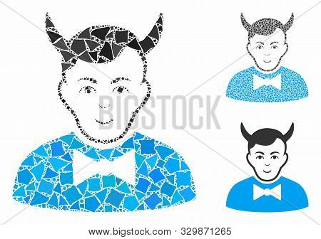 Devil Composition Of Ragged Pieces In Different Sizes And Color Tints, Based On Devil Icon. Vector U