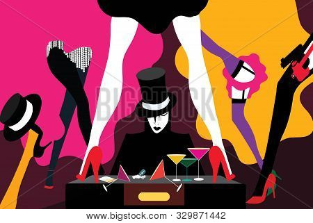 A Young Man Among Many Distraction As Drugs And Burlesque Women Dancing Around Him