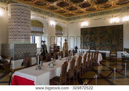 Mir, Belarus -  23-october-2019: Vintage Dinner Room At Exposition In Mir Castle. Mir, Grodno Region