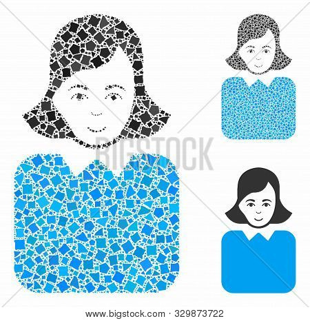 Bureaucrat Woman Mosaic Of Raggy Pieces In Different Sizes And Shades, Based On Bureaucrat Woman Ico