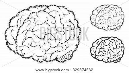 Brain Mosaic Of Bumpy Elements In Variable Sizes And Shades, Based On Brain Icon. Vector Bumpy Parts