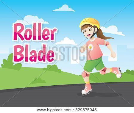 Cute Cartoon Little Girl Roller Blading Isolated On White Background. Cute Smiling Teen Girl Wearing