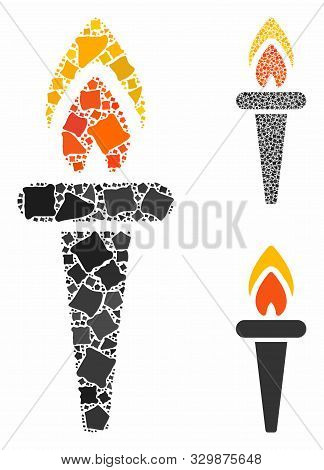 Fire Torch Mosaic Of Ragged Items In Variable Sizes And Color Hues, Based On Fire Torch Icon. Vector