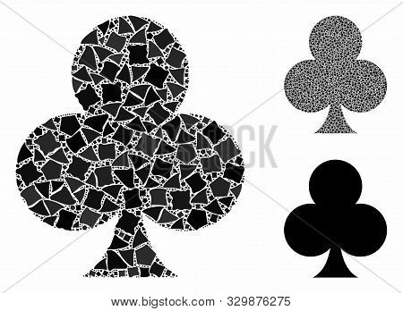 Clubs Suit Mosaic Of Abrupt Elements In Different Sizes And Color Tones, Based On Clubs Suit Icon. V