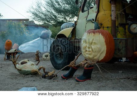 Pumpkin With A Truck Roping An Alien