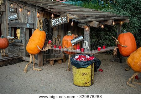 Pumpkins Enjoying A Drink At A Beer Garden