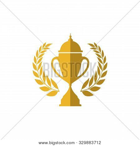 Trophy Cup Vector Winner Logo Design Icon In Flat Style