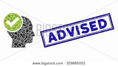Mosaic Advised And Corroded Stamp Seal With Advised Text. Mosaic Vector Advised Is Designed With Ran
