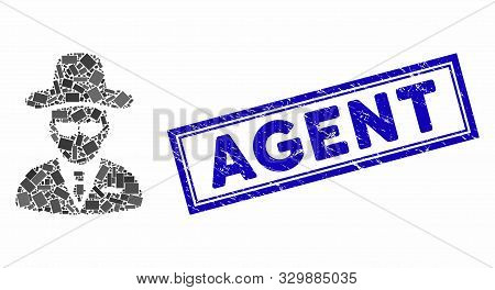 Mosaic Agent And Distressed Stamp Seal With Agent Caption. Mosaic Vector Agent Is Designed With Rand