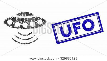 Mosaic Alien Invasion And Rubber Stamp Watermark With Ufo Text. Mosaic Vector Alien Invasion Is Comp