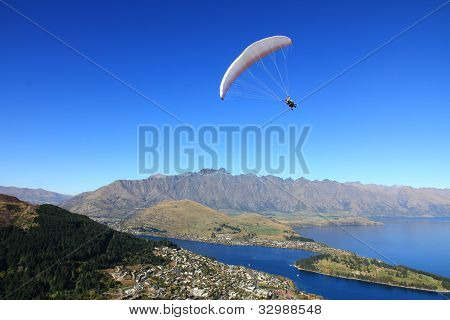 Hang Paragliding Over Beautiful Landscape of Queenstown New Zealand