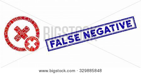 Mosaic False Negative And Corroded Stamp Seal With False Negative Text. Mosaic Vector False Negative
