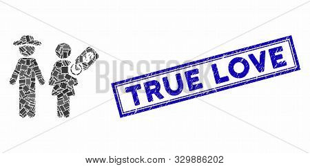 Mosaic Marriage Of Convenience And Distressed Stamp Seal With True Love Text. Mosaic Vector Marriage