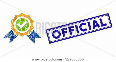 Collage Official And Rubber Stamp Seal With Official Caption. Mosaic Vector Official Is Formed With