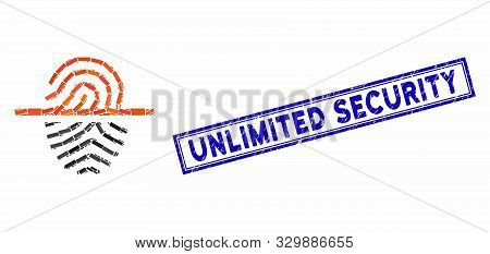 Mosaic Scan Fingerprint And Corroded Stamp Seal With Unlimited Security Caption. Mosaic Vector Scan