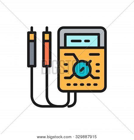 Ammeter, Digital Multimeter, Electrical Tool, Voltmeter Flat Color Icon.