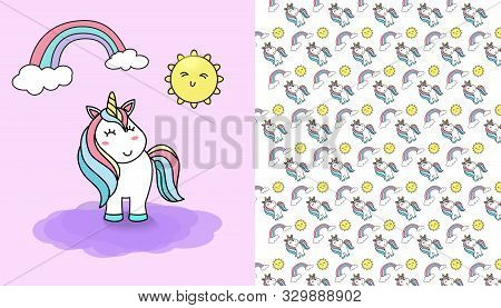 Vector Seamless Pattern With Cute Unicorn And Sun And Rainbow. Funny Pattern For Children With Cute