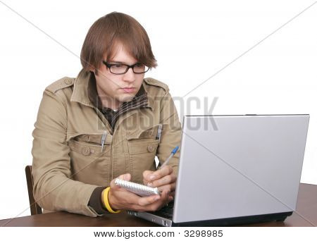 Journalist Guy With Laptop Computer