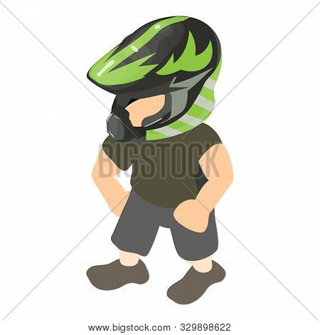 Motorcyclist Icon. Isometric Illustration Of Motorcyclist Vector Icon For Web