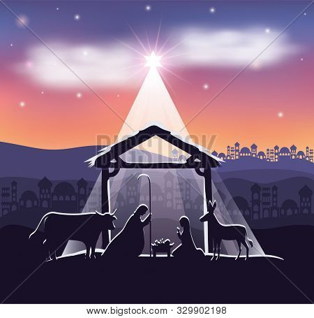 Cute Holy Family And Animals In Stable Manger Characters Vector Illustration Design