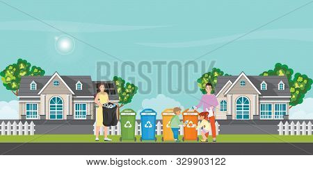 Family sorting garbage into garbage collector on village view background. City waste recycling. Ecology protection concept cartoon, Vector Illustration. poster