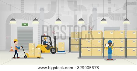 Warehouse In Process With Workers Working Flat Design Vector Illustration