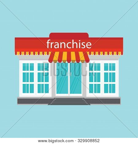 Small Store Or Franchise Isolated On Blue Background. Franchise Business Concept, Franchise Marketin