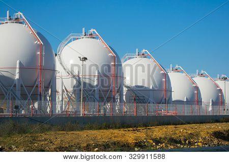 Lpg Or Lng Storage Tanks On A Plant.