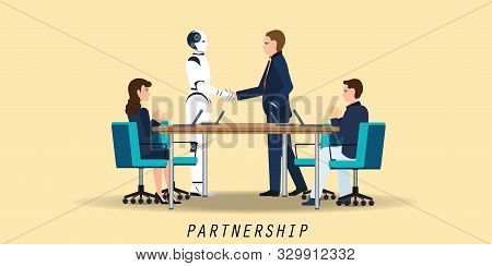Businessman And Artificial Intelligence Robot Handshaking During Meeting Agreement Partnership Conce