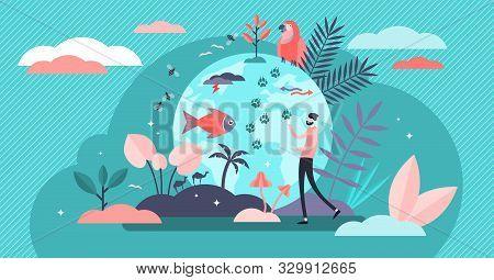 Biodiversity Vector Illustration. Flat Tiny Various Wildlife Persons Concept. Mammals, Birds, Fishes