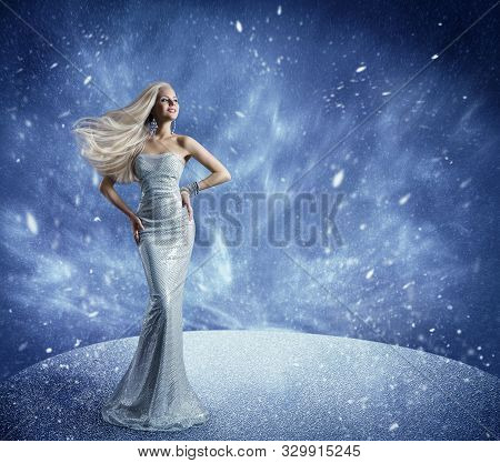 Winter Woman Fashion Dress And Hairstyle, Model Beauty Portrait In Snow, Long Gown Waving Hair