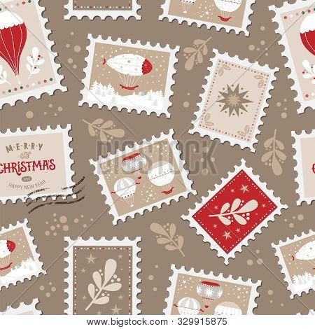 Christmas Seamless Pattern With Christmas Post Stamps, Stars, Balloons, Brunches, Festive Quote Merr