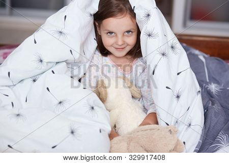 Close Up Portrait Of Little Cheerful Girl Hides Under Blanket With Fluffy Dog Toy, Sweet, Adorable C