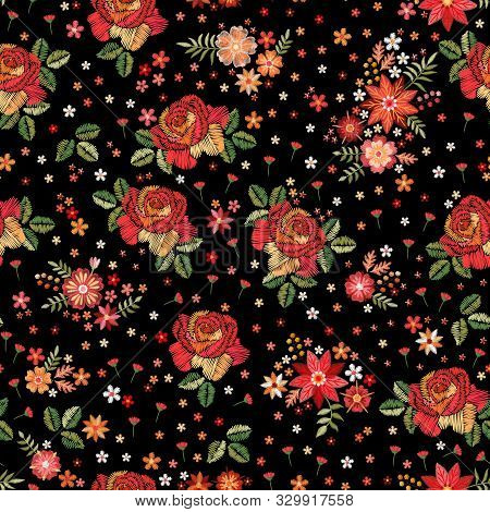 Embroidery Seamless Pattern With Roses And Wild Flowers On Black Background. Trendy Design For Fabri