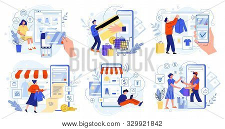 Online Store Payment. Bank Credit Cards, Secure Online Payments And Financial Bill. Smartphone Walle