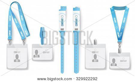 Identification Card Badge. Event Identification Cards, Badges On Lanyard And Blue Id Mockup Realisti