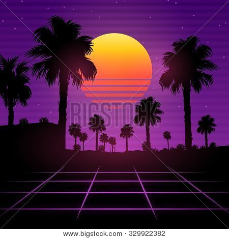 Palm Background 80 S, 90 S Style. Vector Landscape Of Sunset. Image Of Old, Retro, Vintage Style. Pa