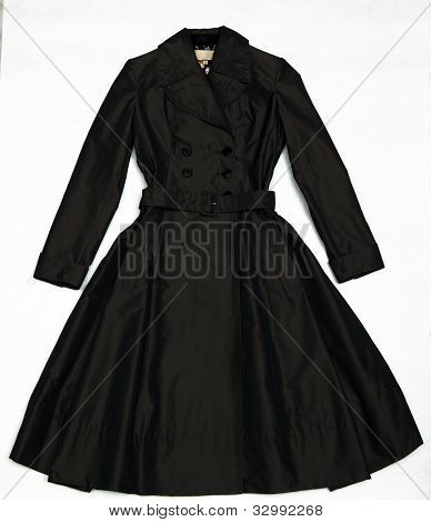 Black Shining A Female Dress With Buttons