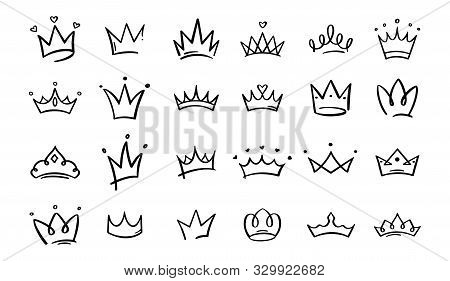 Hand Drawn Doodle Crowns. King Crown Sketches, Majestic Tiara, King And Queen Royal Diadems Vector.