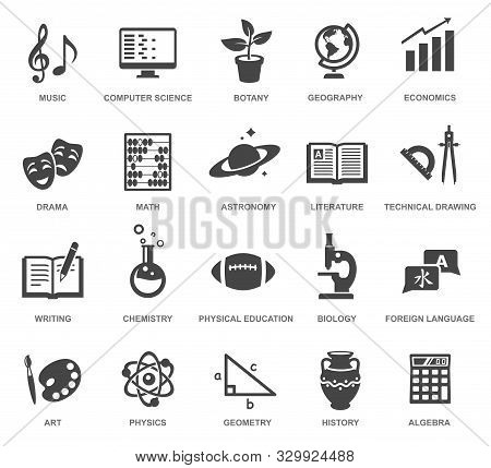 School Subjects Black Glyph Icons Vector Set