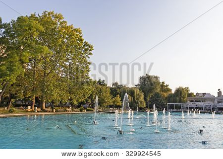 Plovdiv, Bulgaria - August 27, 2019: Sunset View Of Singing Fountains At Tsar Simeon Garden In City