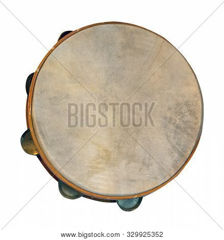 Classical Percussion Musical Instrument Tambourine Isolated On White Background.old Tambourine Top F